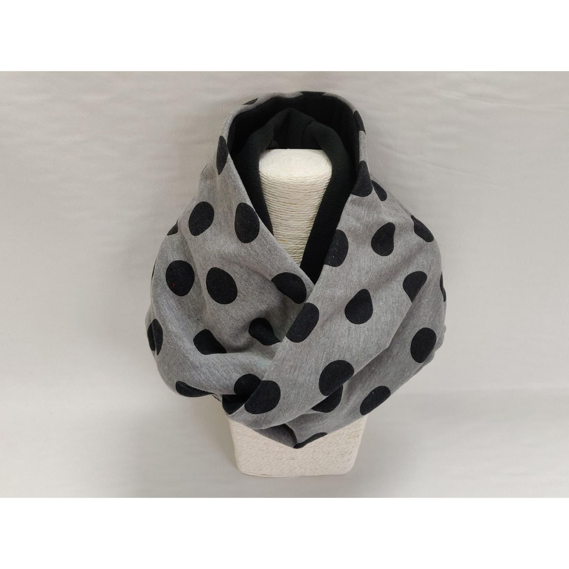 snood gris à pois